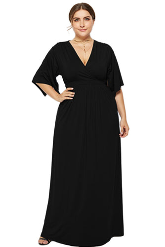 Women's Maxi Dresses Black Cross Deep V Neck Unique Sleeve High Waist Sexy Pregnant Party Long Dress