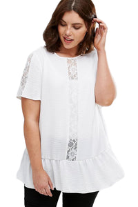 White Plus Size Smock Top with Lace Insert