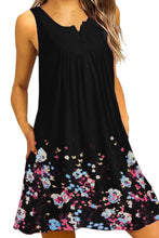 Load image into Gallery viewer, Black Crew Neck A-Line Daily Beach Floral Dress