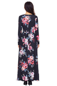 Black Floral Surplice Long Sleeve Maxi Boho Dress
