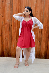 Burgundy Spaghetti Strap Double Breasted Shift Dress