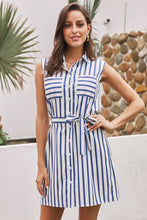Load image into Gallery viewer, Sky Blue Sleeveless Tank Shirt Dress