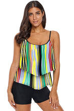 Load image into Gallery viewer, Multicolor Printed Spaghetti Strap Layered Tankini Top