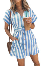 Load image into Gallery viewer, Sky Blue Fashion Stripe Short Sleeve Casual Dress