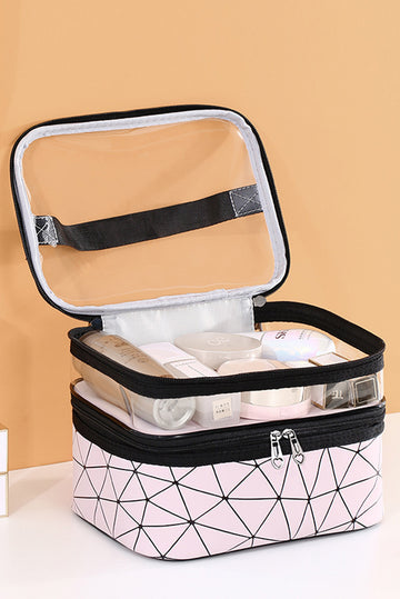 Double-layer waterproof cosmetic bag large capacity pink toiletry bag waterproof travel convenient skin care product storage bag