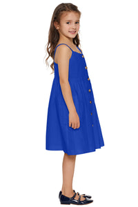 Blue Little Girls Spaghetti Strap Button Dress with Pockets