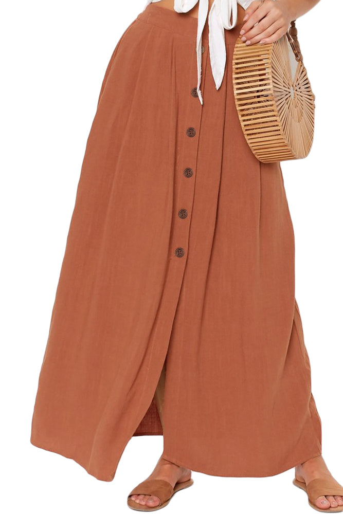 Orange Buttoned Maxi Skirt