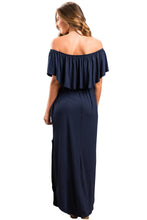 Load image into Gallery viewer, Navy Flounce Off Shoulder Maxi Jersey Dress