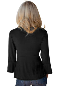Black Bell Sleeve Wrap Front Tunic