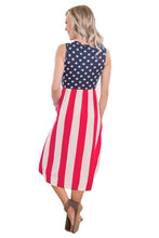 Load image into Gallery viewer, American Flag Print Casual Pocket Style Tank Dress