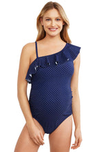 Load image into Gallery viewer, Blue Ruffle Front One Shoulder Maternity Swimsuit