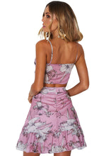 Load image into Gallery viewer, Violet Floral Print Tie Front Bralette and A-line Mini Skirt