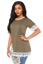 Load image into Gallery viewer, Delicate Lace Trim Olive Short Sleeve Top