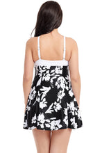 Load image into Gallery viewer, White Floral Print Black Swimdress with Panty