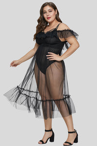 Black Plus Size Teddy Lingerie with Tulle Layer