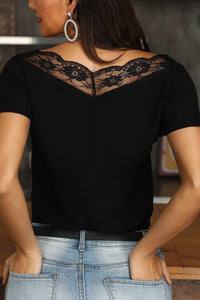 Lace V Neck Short Sleeve Tee Shirt
