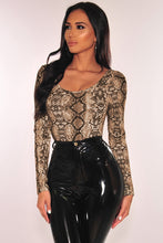 Load image into Gallery viewer, Multicolour Snake Print Long Sleeves Bodysuit