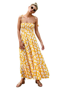 Yellow Summer Bohemian Printed Holiday Maxi Dress