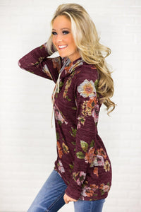 Red Floral Cowl Neck Sweatshirt