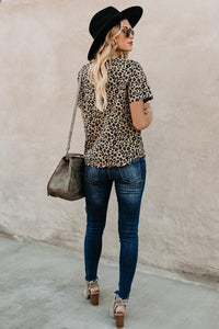 Crew Neck Leopard Print  Basic T-shirt