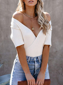 White Ribbed Surplice Knit Top