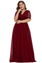 Load image into Gallery viewer, Red Plus Size Chiffon Evening Party Maxi Dresses
