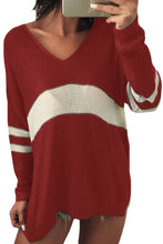 Load image into Gallery viewer, White Strip Red V Neck Sweater