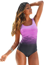 Load image into Gallery viewer, Purple Gradient Criss Cross Back One Piece Swimsuit