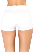 Load image into Gallery viewer, White Mid Rise Triple Button Stretch Denim Shorts