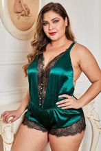 Load image into Gallery viewer, Green Plus Size Lace Detail V Neck Teddy Lingerie