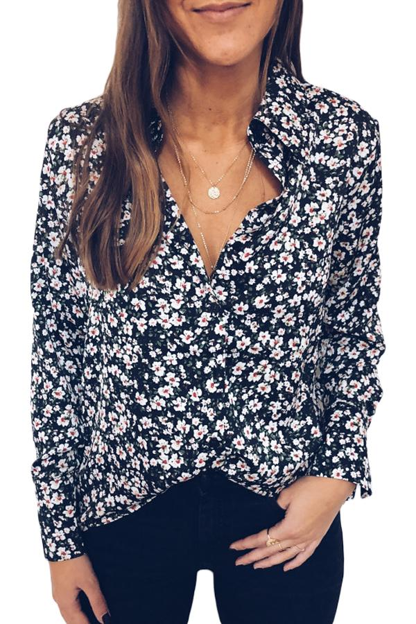 Black Floral Pattern Buttoned Shirt