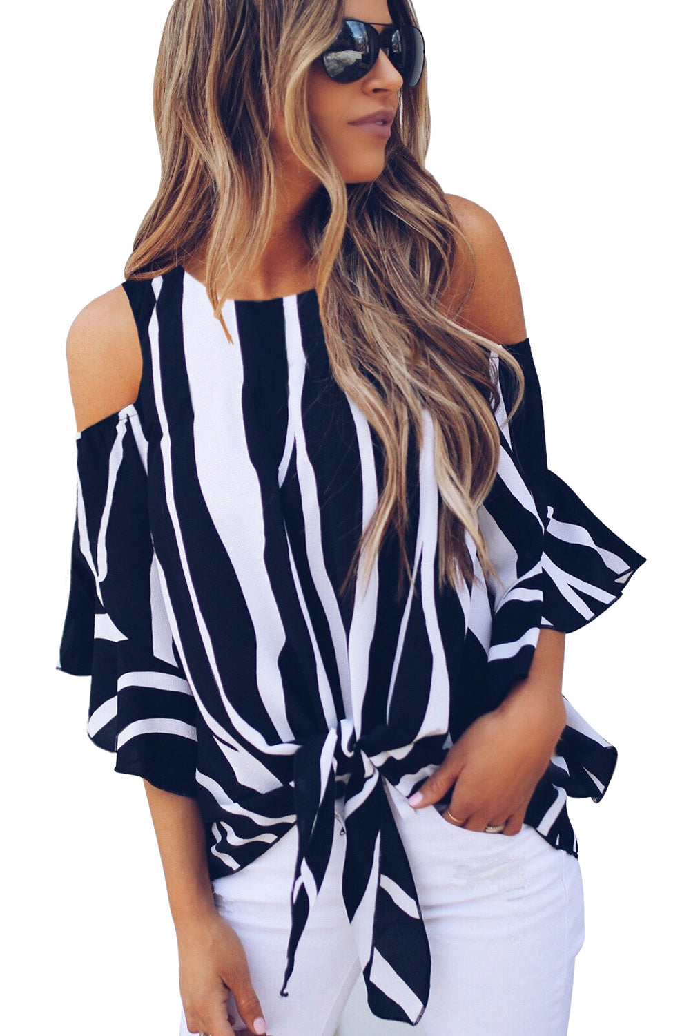 Black Cold Shoulder Vertical Stripes Blouse