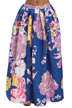 Load image into Gallery viewer, Navy Lilac Floral Elegant Flared Maxi Skirt