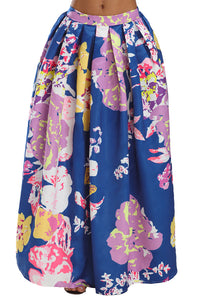Navy Lilac Floral Elegant Flared Maxi Skirt
