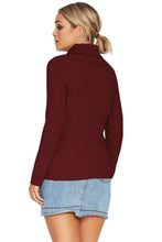 Load image into Gallery viewer, Purplish Red Long Sleeve Turtleneck Braided Sweater