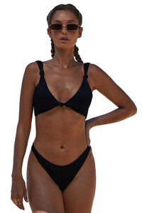 Black Knotted Two-piece Bikini Swimsuit