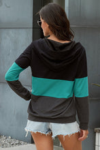 Load image into Gallery viewer, Green Color Block Zipped Neck Hoodie