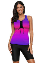 Load image into Gallery viewer, Rose Ombre Print Racerback Tankini Swimsuit