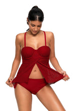 Load image into Gallery viewer, Burgundy Lace Flyaway Underwired Tankini Bathing Suit