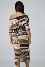 Load image into Gallery viewer, Fearless Animal Print Drape Neckline Long Dress