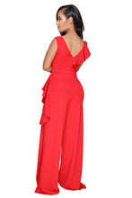 Load image into Gallery viewer, Red Asymmetric Ruffle Trim Wide Leg Jumpsuit