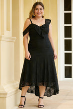 Load image into Gallery viewer, Black Asymmetric Ruffle Shoulder Design Plus Size Lace Dress