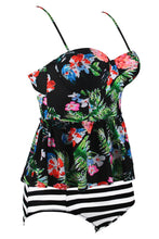 Load image into Gallery viewer, Multicolor 2pcs Floral Print Flounce Tankini Swimsuit