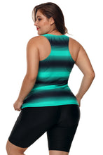 Load image into Gallery viewer, Green Black Ombre Print Racerback Tankini Swimsuit