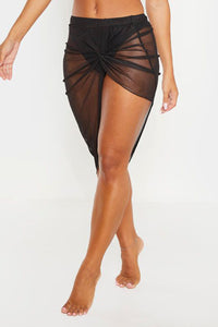 Black Twist Ruched Beach Dress
