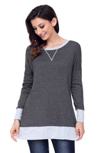 Load image into Gallery viewer, Charcoal Side Pocket Elbow Patch Colorblock Tunic