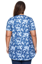 Load image into Gallery viewer, Blue Butterfly Print Pin Tuck Plus Size Blouse
