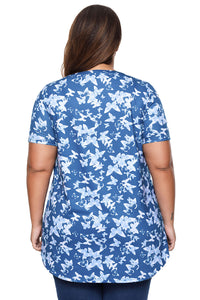 Blue Butterfly Print Pin Tuck Plus Size Blouse