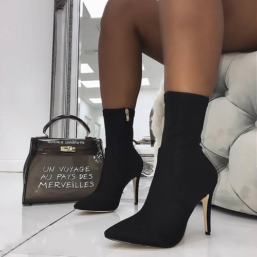 2020 New Boots Women Stretch Fabric Pointed Toe Ankle Boots High Heels Zip Basic High Boots Sexy Pumps Women Shoes Black
