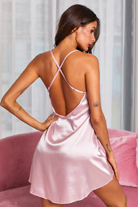 Pink Gracie Satin and Lace Babydoll